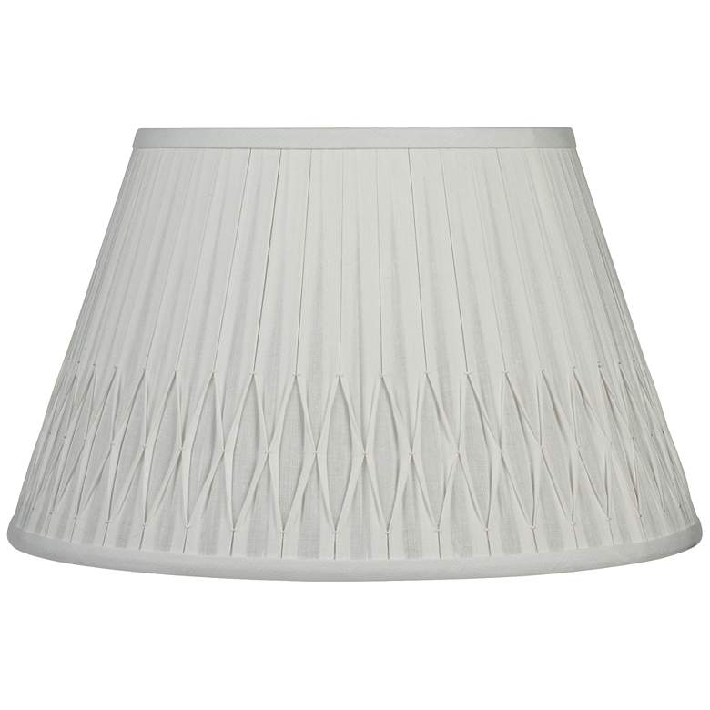 Off-White Bottom Smocked Linen Shade 10x16x10 (Spider)