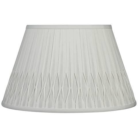 Off-White Bottom Smocked Linen Shade 10x16x10 (Spider)