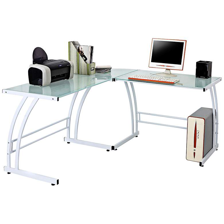 "Gamma 70"" Wide Modern White Metal and Glass Work Station"