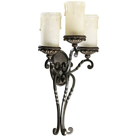 "Quorum Alameda 28"" High 3-Light Oiled Bronze Wall Sconce"