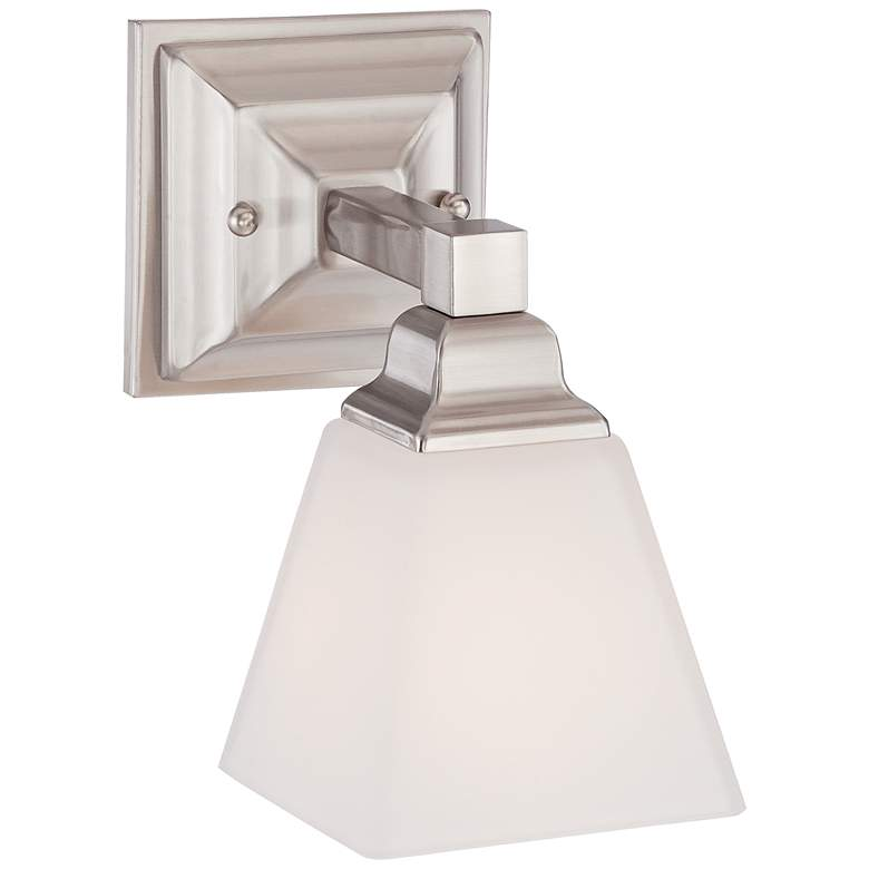 "Mencino-Opal 9"" High Satin Nickel and Opal Glass Wall Sconce"