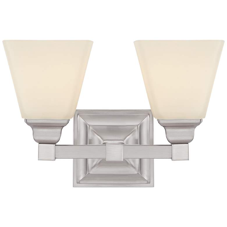 "Mencino-Opal 12 3/4"" Wide Satin Nickel and Glass Bath Light"
