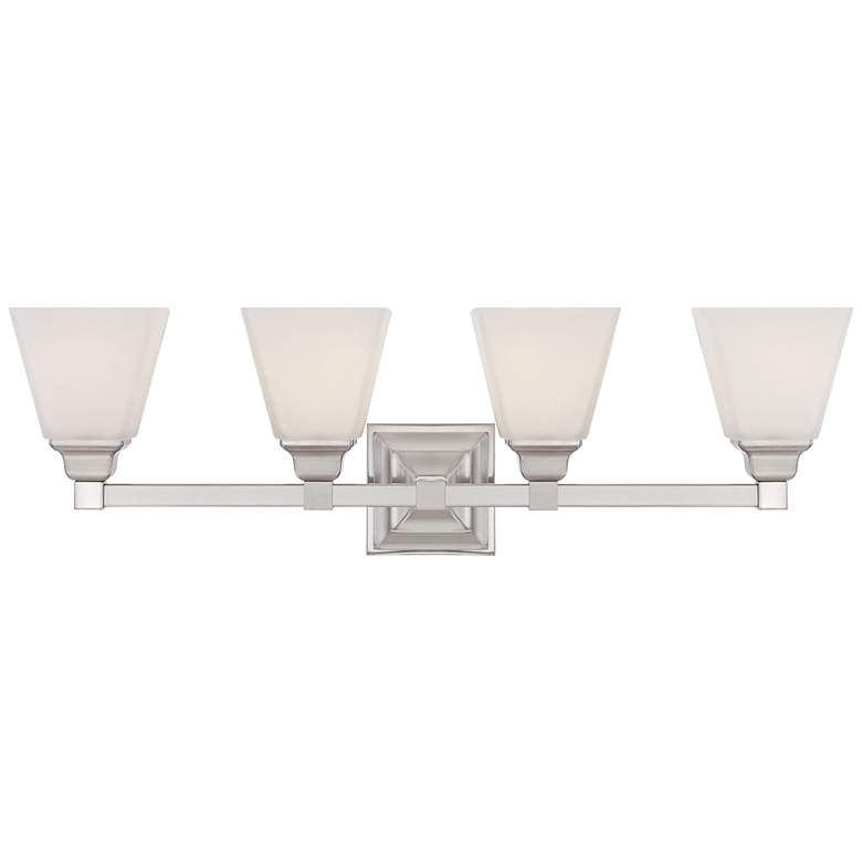 "Mencino 28"" Wide Satin Nickel and Opal Glass Bath Light"