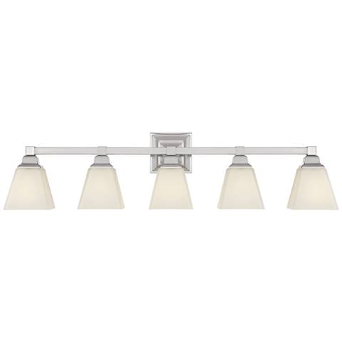 "Mencino 35 1/4"" Wide Satin Nickel and Opal Glass Bath Light"
