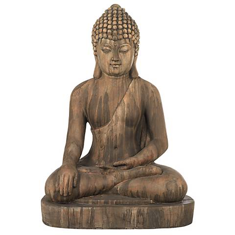 "Sitting Buddha 29 1/2"" High Light Sandstone Outdoor Statue"