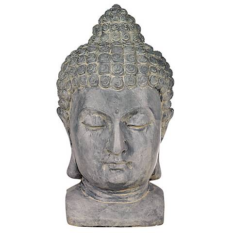 "Meditating Buddha Head 18 1/2"" High Outdoor Statue"