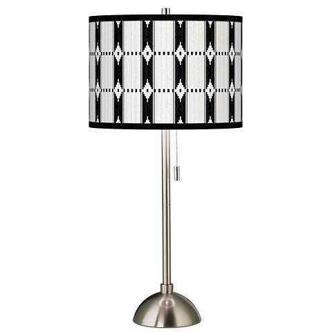 Tribal Weave Giclee Brushed Steel Table Lamp