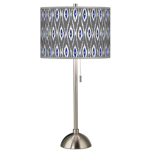 American Ikat Giclee Brushed Steel Table Lamp