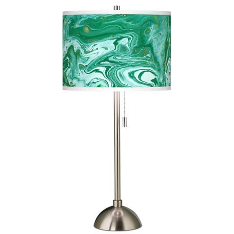Malachite Giclee Brushed Steel Table Lamp