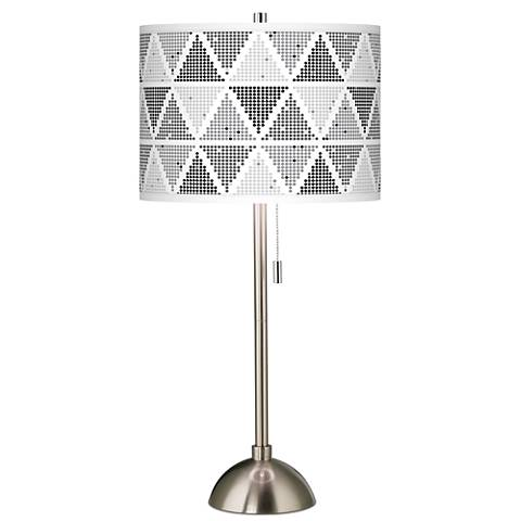 Pointillism Giclee Brushed Steel Table Lamp