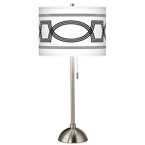 Concave Giclee Brushed Steel Table Lamp