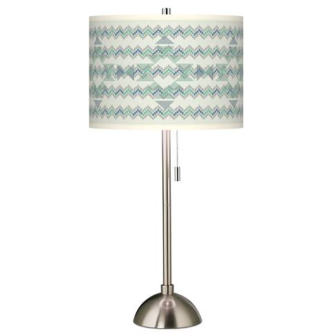 Triangular Stitch Giclee Brushed Steel Table Lamp