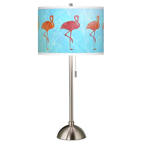 Flamingo Shade Giclee Brushed Steel Table Lamp