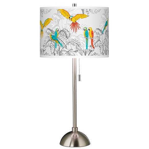 Macaw Jungle Giclee Brushed Steel Table Lamp