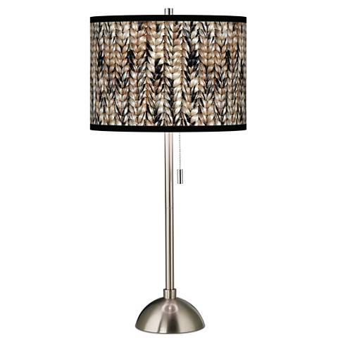 Braided Jute Giclee Brushed Steel Table Lamp