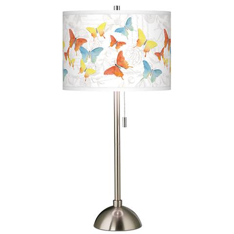 Pastel Butterflies Giclee Brushed Steel Table Lamp