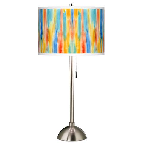 Tricolor Wash Giclee Brushed Steel Table Lamp