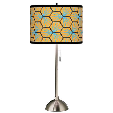 Hexagon Starburst Giclee Brushed Steel Table Lamp