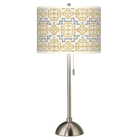 Willow Chinoiserie Giclee Brushed Steel Table Lamp