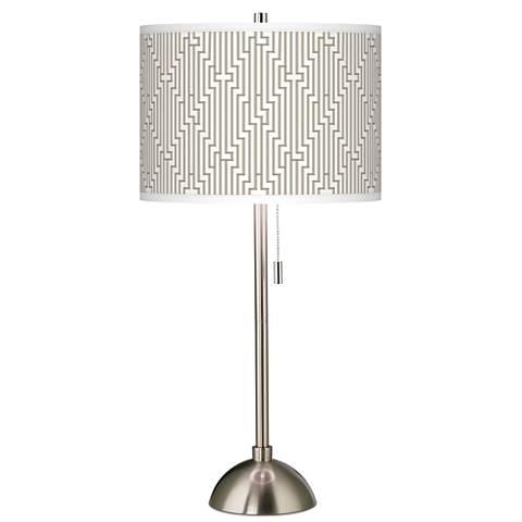Diamond Maze Giclee Brushed Steel Table Lamp