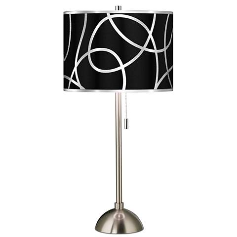 Abstract Silver Metallic Giclee Brushed Steel Table Lamp