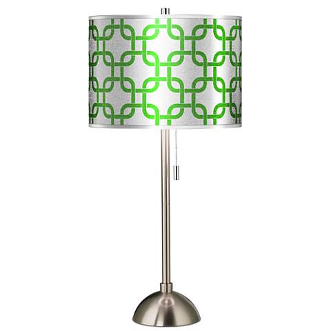 Lattice Silver Metallic II Giclee Brushed Steel Table Lamp