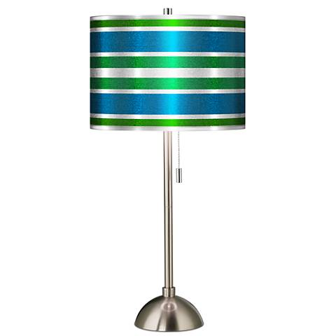 Multi Color Stripes Silver Metallic Brushed Steel Table Lamp