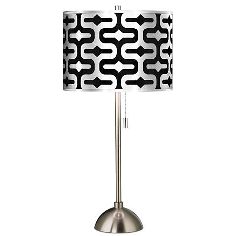 Reflection Silver Metallic Giclee Brushed Steel Table Lamp