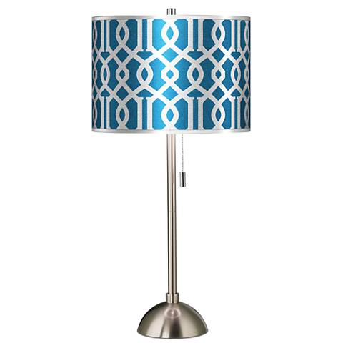 Chain Reaction Silver Metallic Giclee Brushed Steel Table Lamp