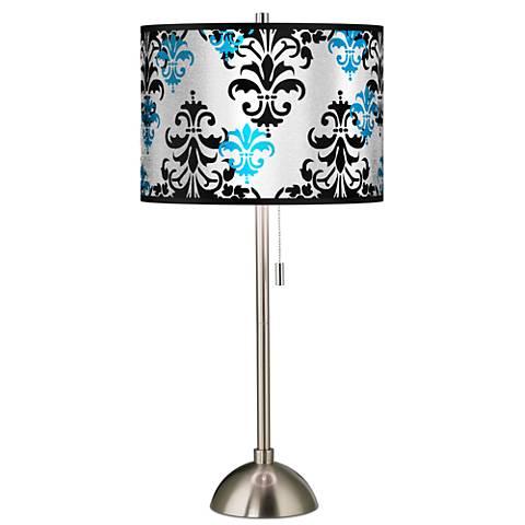 Damask Shadow Silver Metallic Giclee Brushed Steel Table Lamp