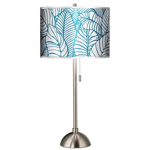 Tropical Leaves Silver Metallic Giclee Brushed Steel Table Lamp