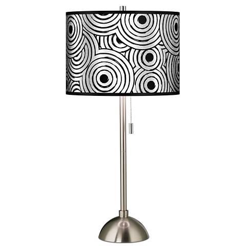 Circle Daze Silver Metallic Giclee Brushed Steel Table Lamp