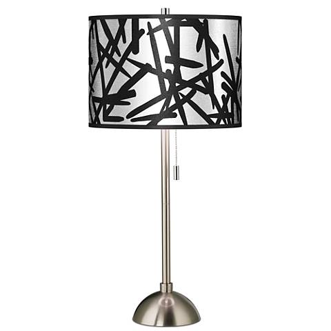 Sketchy Silver Metallic Giclee Brushed Steel Table Lamp