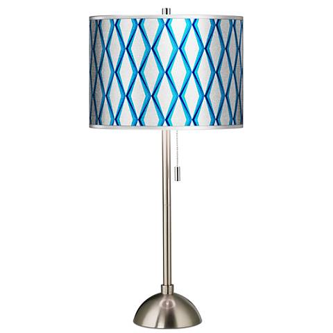 Matrix Silver Metallic Giclee Brushed Steel Table Lamp