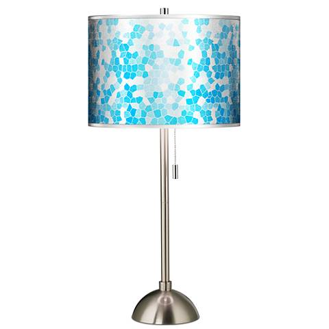 Mosaic Silver Metallic Giclee Brushed Steel Table Lamp