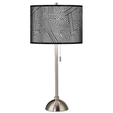 Brushed Steel Contemporary Table Lamp with Opaque Shade
