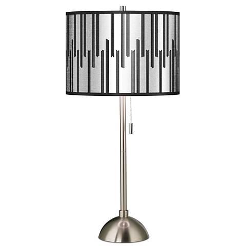 Segments Silver Metallic I Giclee Brushed Steel Table Lamp