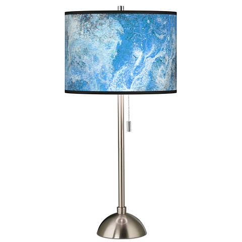Ultrablue Giclee Brushed Steel Table Lamp