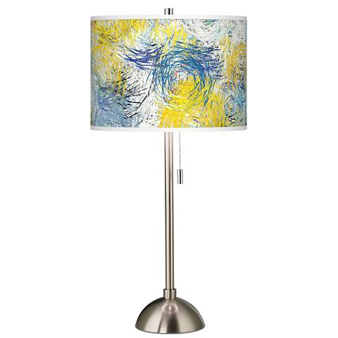 Starry Dawn Giclee Brushed Steel Table Lamp