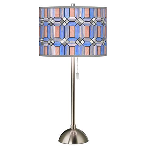 Tiffany table lamps lamps plus asscher tiffany style giclee brushed steel table lamp aloadofball Image collections