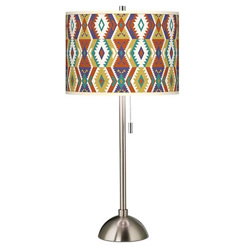 Southwest Bohemian Giclee Brushed Steel Table Lamp