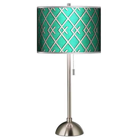 Crossings Silver Metallic Giclee Brushed Steel Table Lamp
