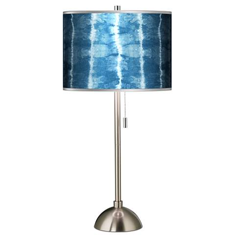 Cool Reflections Silver Metallic Giclee Brushed Steel Table Lamp