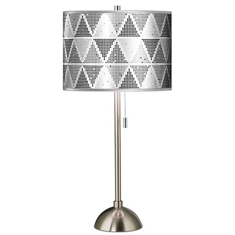 Pointillism Silver Metallic Giclee Brushed Steel Table Lamp