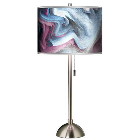 Europa Silver Metallic Giclee Brushed Steel Table Lamp