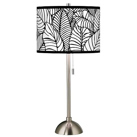 Tropical Leaves Giclee Brushed Steel Table Lamp