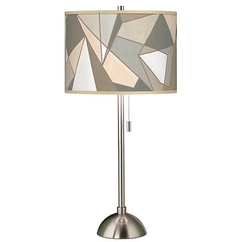Modern Mosaic I Giclee Brushed Steel Table Lamp
