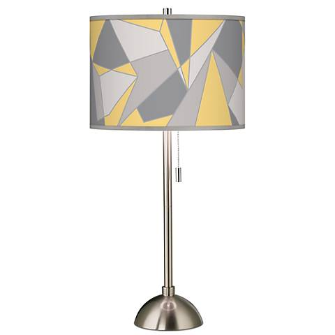 Modern Mosaic II Giclee Brushed Steel Table Lamp