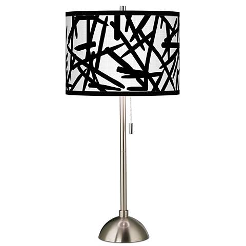 Sketchy Giclee Brushed Steel Table Lamp