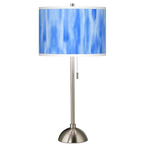 Blue Tide Giclee Brushed Steel Table Lamp